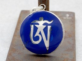 PA135 Pendentif Argent Massif Om Tibétain Lapis Lazuli