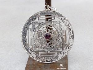 PA140 Grand Pendentif Argent Massif Mandala Grenat