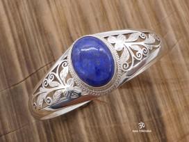 BRA44. Bracelet Tibétain Argent Massif Lapis Lazuli