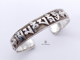 BRA49 Bracelet Tibétain Argent Massif Mantra Bouddhiste