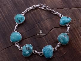BRA60. Bracelet Tibétain Argent Massif Turquoise