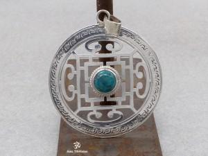 PA158 Pendentif Argent Massif Tibétain Mandala Turquoise