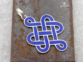PA49 Pendentif Argent Massif Nœud Sans Fin Signes Auspicieux Lapis Lazuli