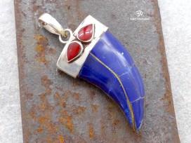PA180 Pendentif Tibétain Argent Massif Lapis Lazuli