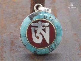 PA193 Pendentif Argent Massif Om Tibétain