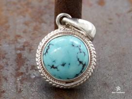 PA218 Pendentif Tibétain Argent Massif Turquoise