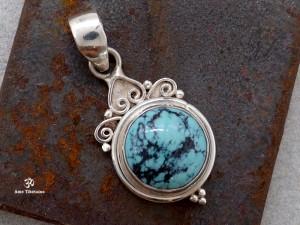 PA290 Pendentif Tibétain Argent Massif Turquoise