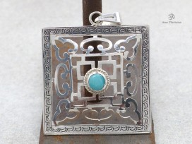 PA302 Pendentif Argent Massif Tibétain Mandala Turquoise