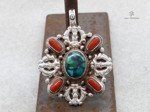PA224 Pendentif Tibétain Argent Massif Turquoise Corail Double Dorje