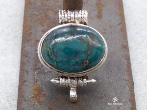 PA324 Pendentif Argent Massif Ghau Turquoise