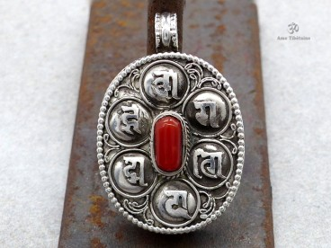 PA390 Pendentif Argent Massif Ghau Mantra Tibétain