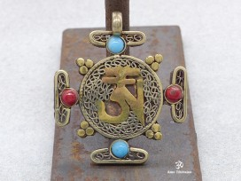PD02 Pendentif Om Tibétain Sanskrit Mandala