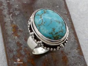 BA226 Bague Tibétaine Argent Massif Turquoise. Taille 54